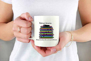 Retired Librarian Cat and Books Mug