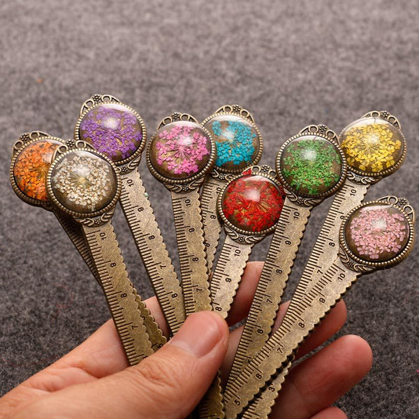1 Piece Retro Colorful Flower Metal Ruler Bookmark