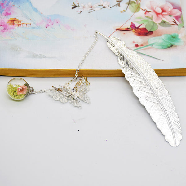 1PC Vintage Feather/Butterfly Bookmark