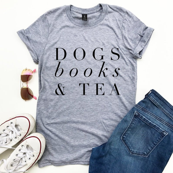 Dogs Books and Tea Letters Women T-shirt