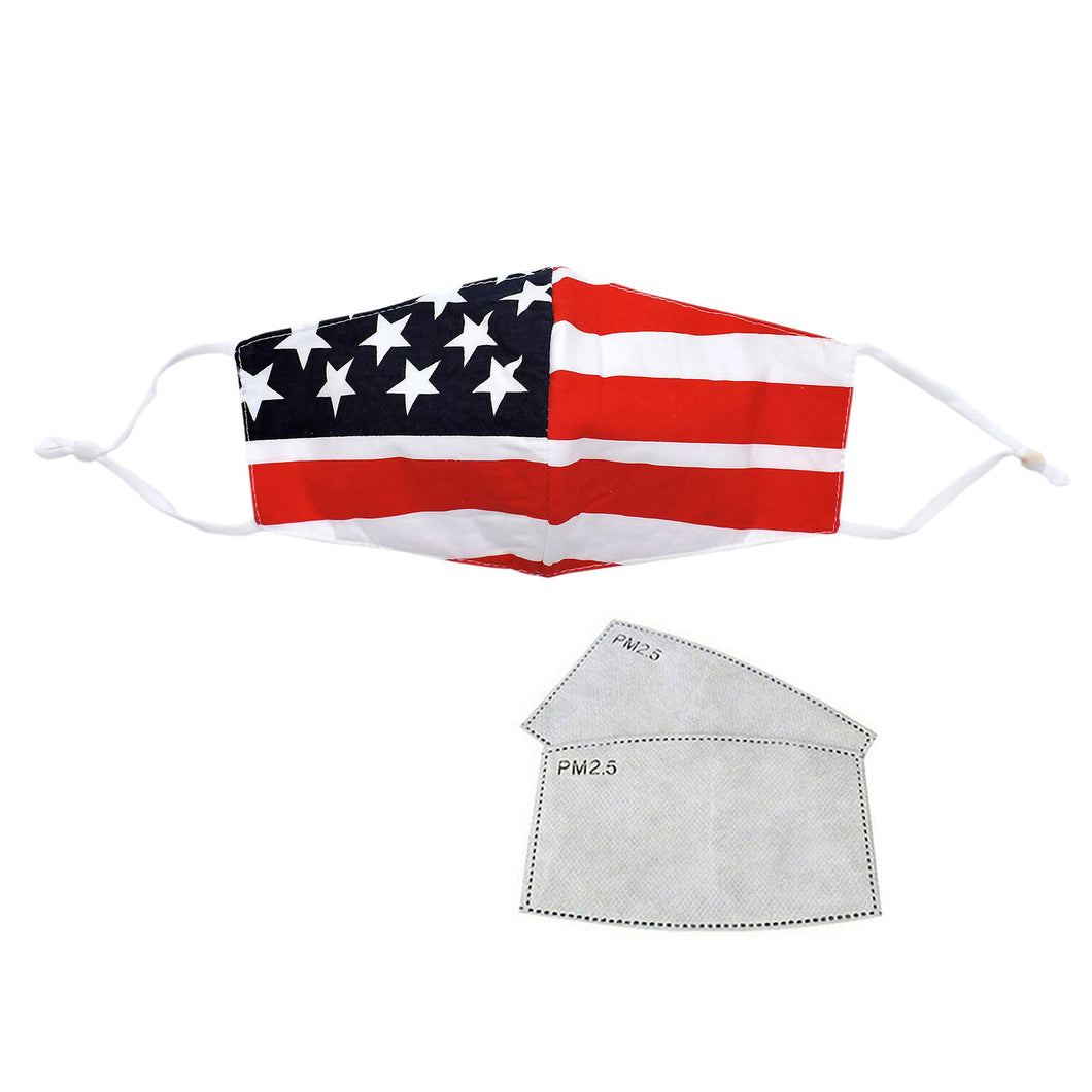 Fashion Cotton US FLAG Mask with PM2.5 Filter