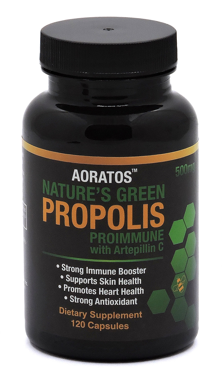 Aoratos Nature's Green Propolis Proimmune with Artepillin C 120 count 500mg Vegetable Capsules