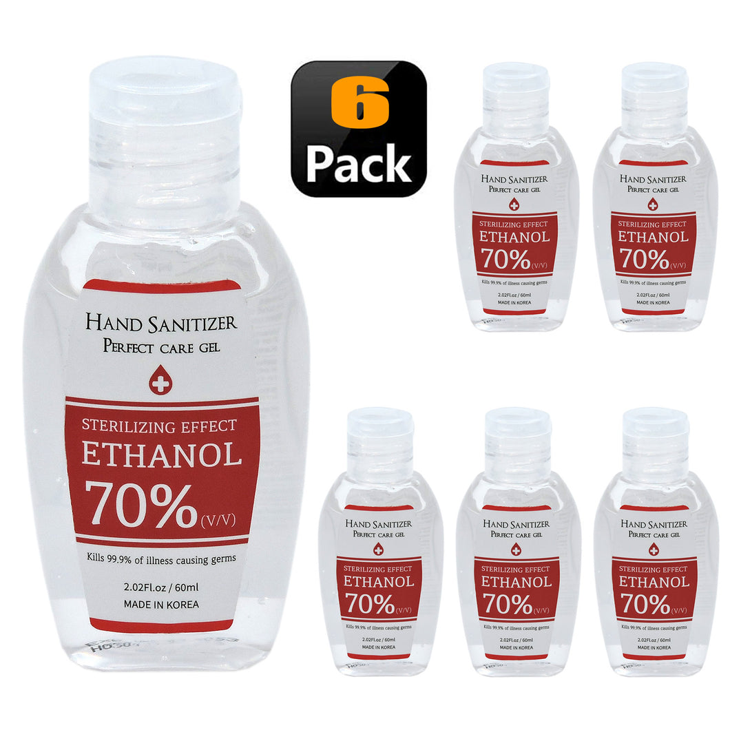 70% Ethanol Hand Sanitizer Gel 60ml HSG7060 6 PCS SET
