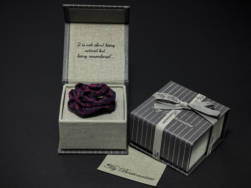 MyB Silk Flower Damask Plum/Navy