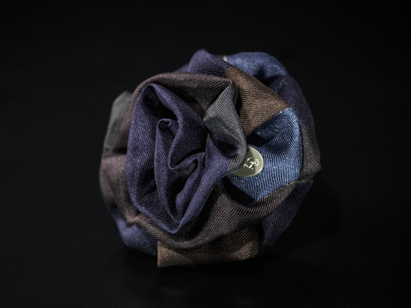 MyB Silk Flower Navy/Black/Brown Print