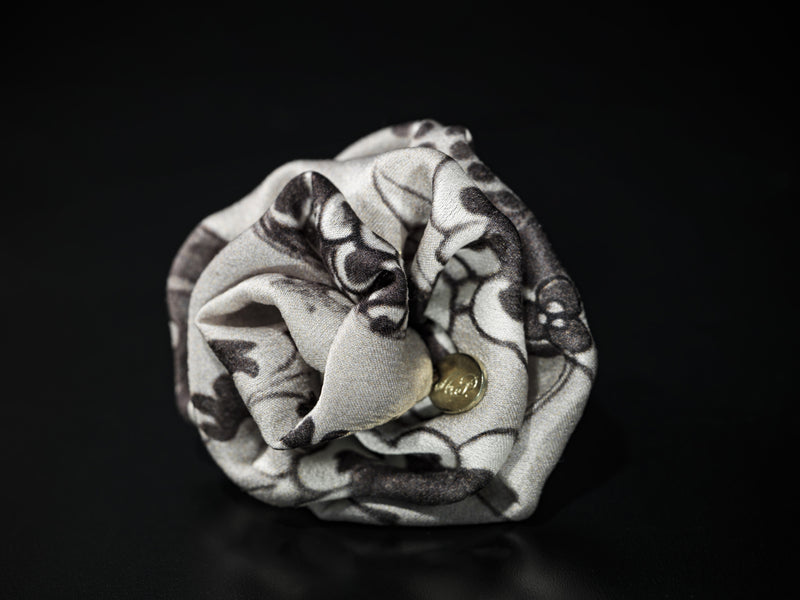 MyB Silk Flower Floral Print Greys