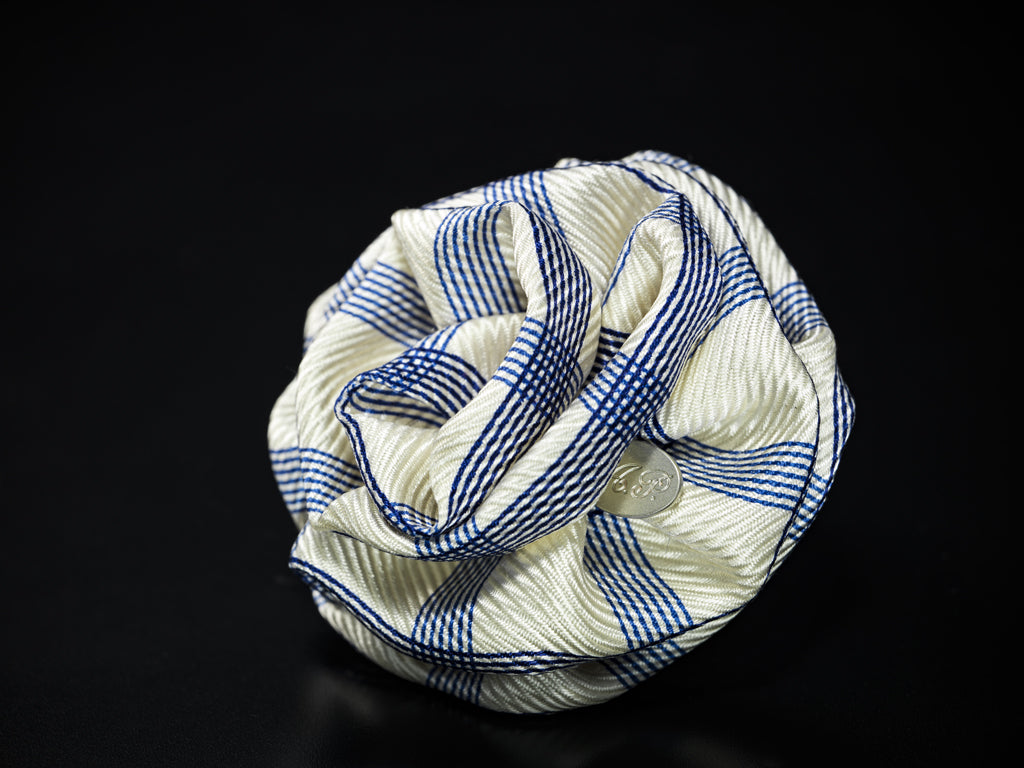 MyB Satin Flower White /Navy Stripes