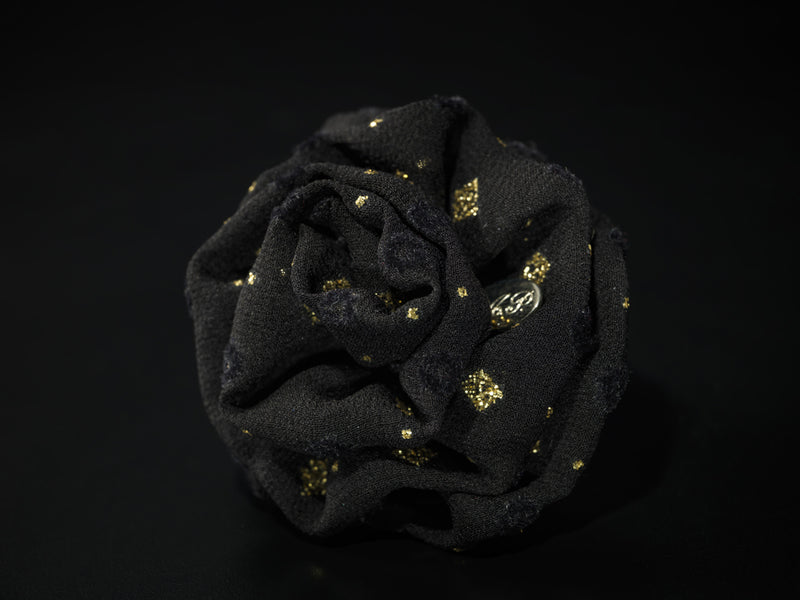 MyB Satin Flower Georgette Black With Gold Pois