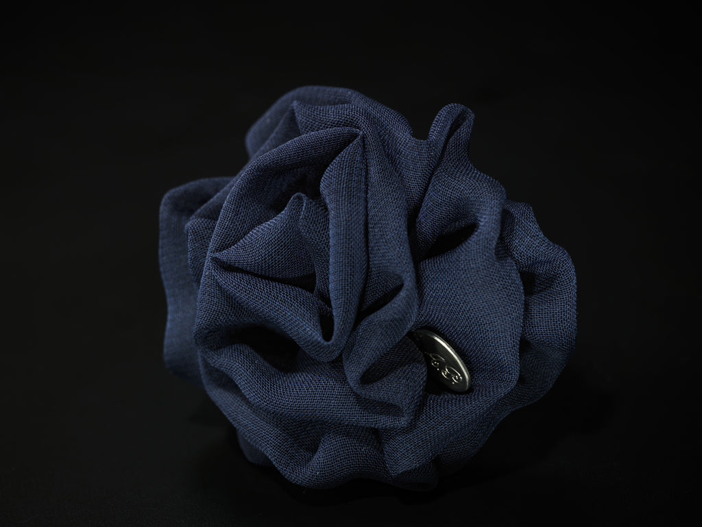 MyB Silk Satin Flower Glossy Navy