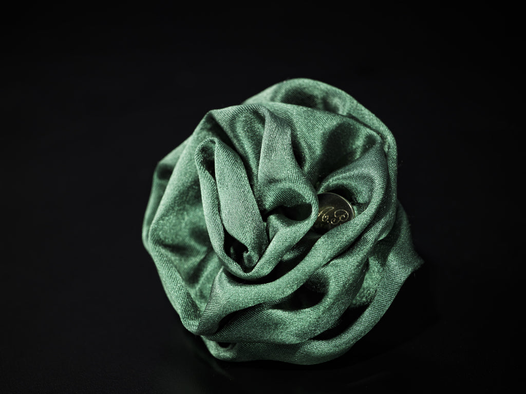 MyB Silk Satin Flower Glossy Forest Green