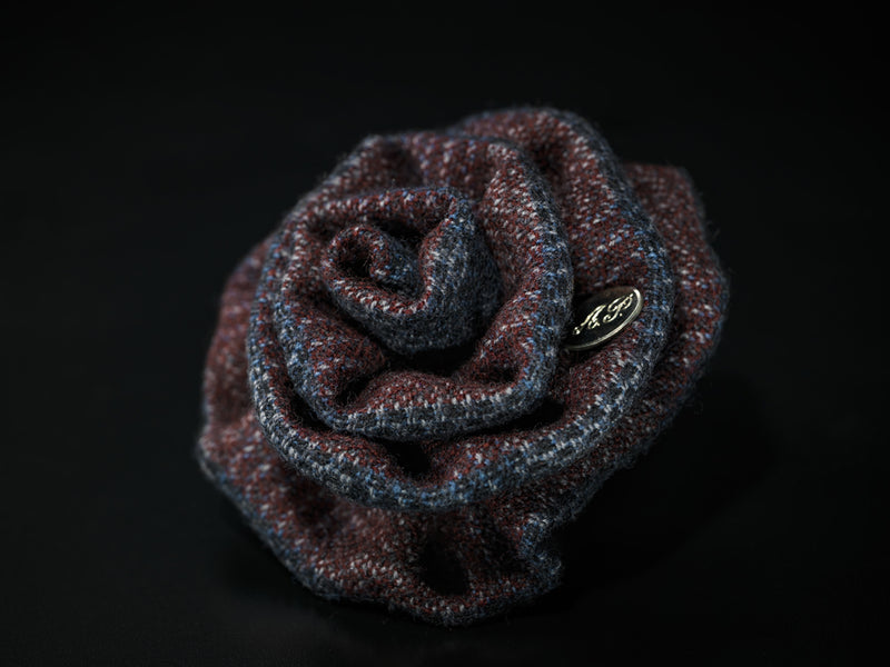 MyB Cashmere & Wool Flower Check Navy/Bordeaux