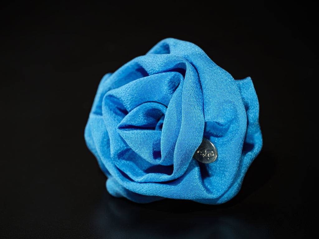 MyB Silk Flower Crepe De Chine Electric Blue