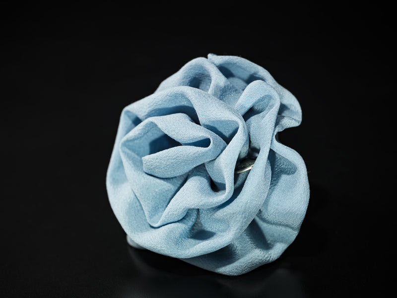 MyB Silk Flower Crepe De Chine Baby Blue