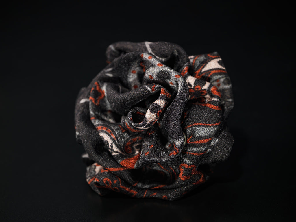 MyB Silk Flower Paisley Print Black/Red