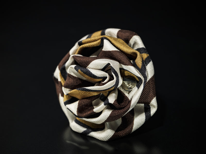 MyB Silk Flower Multi Stripe Browns/White