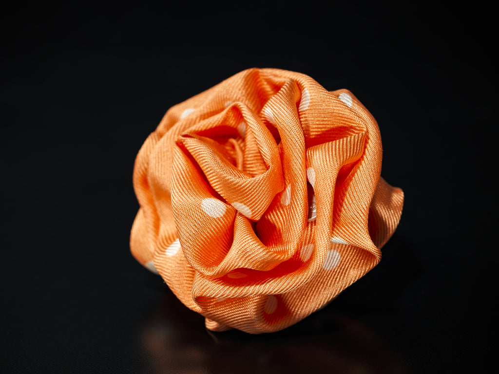 MyB Silk Flower Orange/Cream Pois