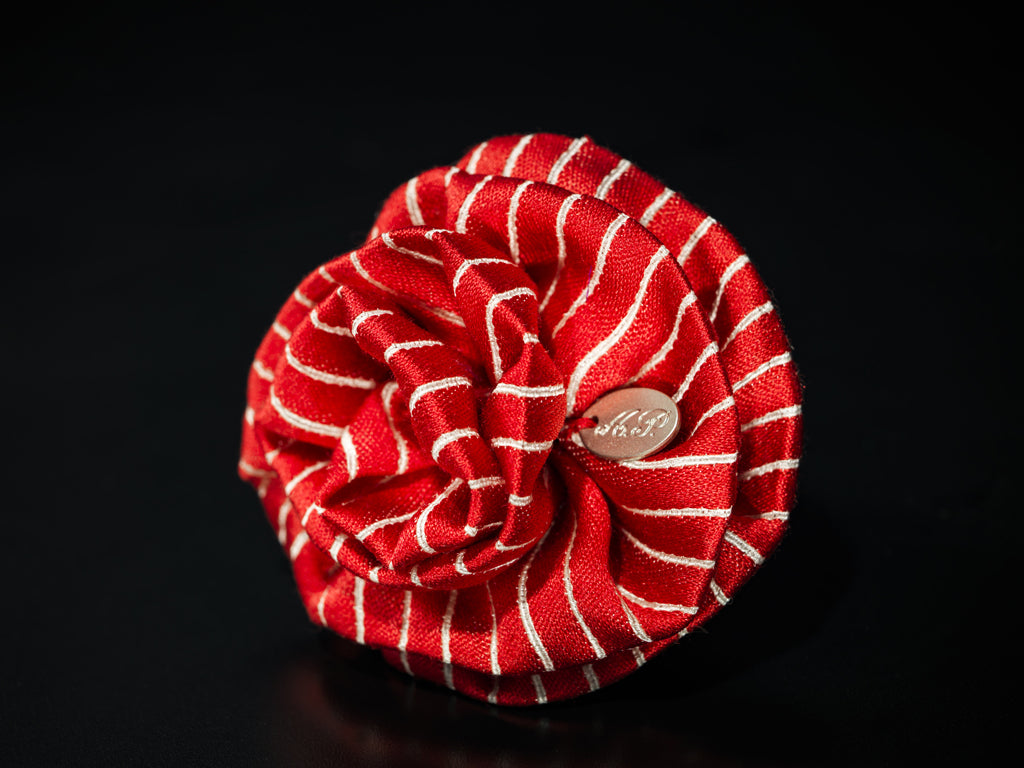 MyB Silk Flower Red/White Stripe