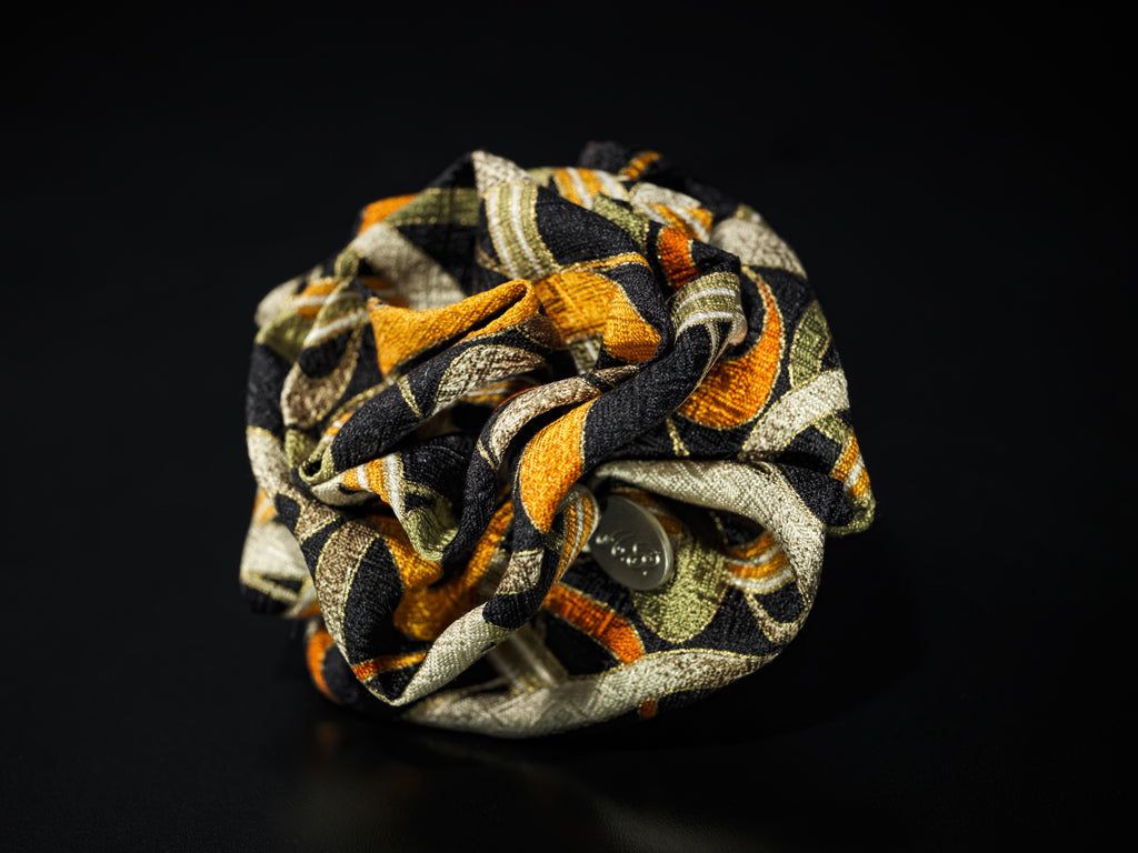MyB Silk Flower Spiral Jacquard Multi Cols. Black/Greens/Orange