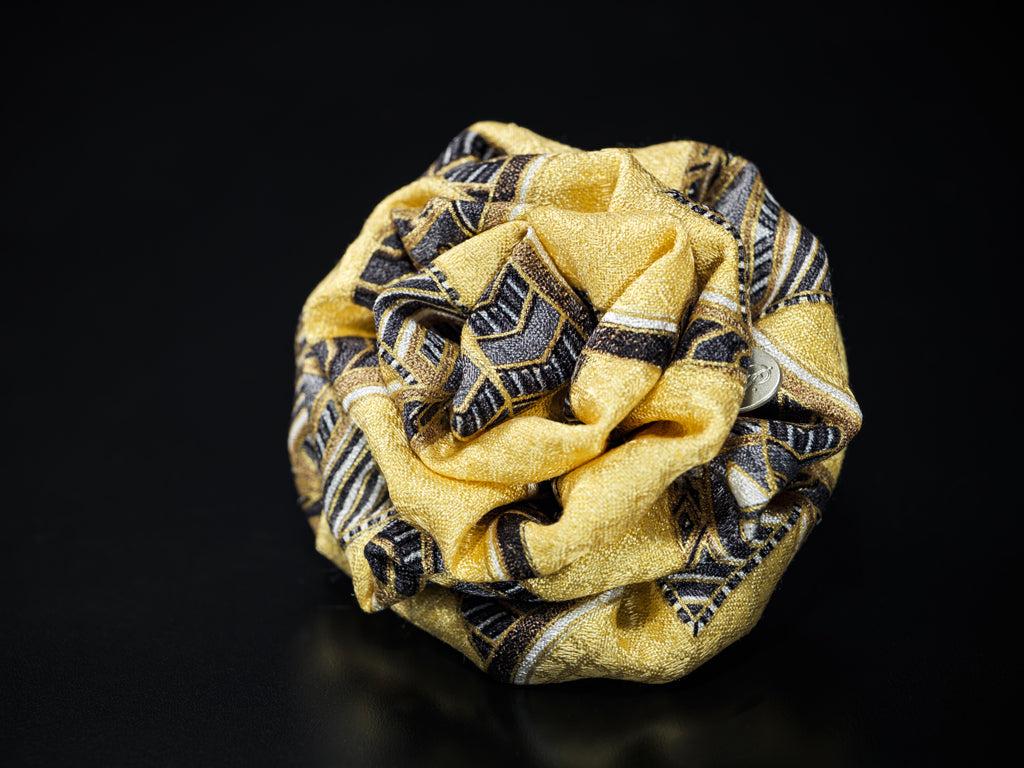 MyB Silk Flower Imperial Print Yellow/Gold/Greys