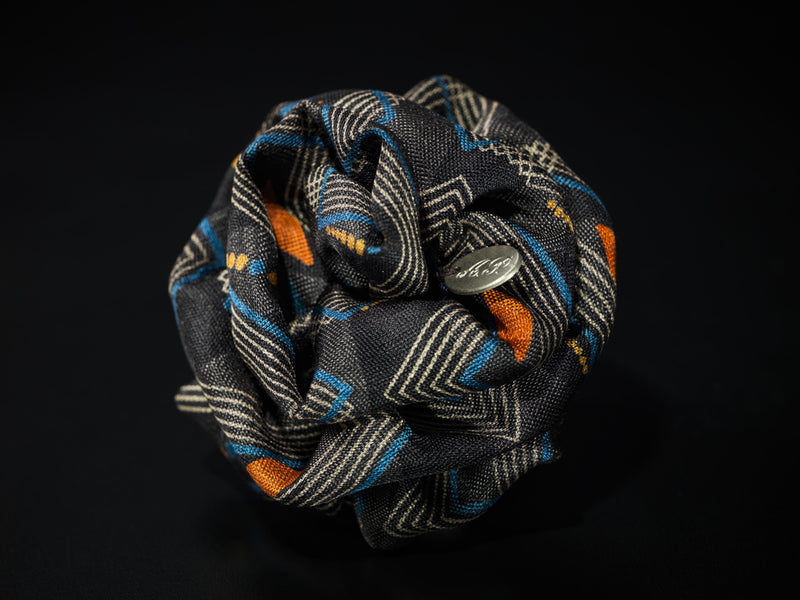 MyB Silk Flower Geometric Print Multi Cols. Black/Orange/Blue