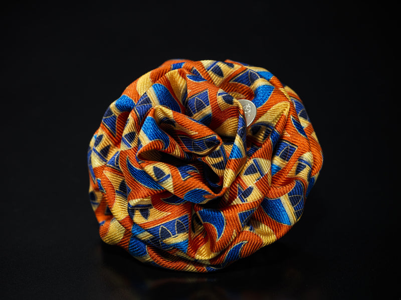 MyB Silk Flower Wave Print Multi Cols. Orange/Yellow/Blue