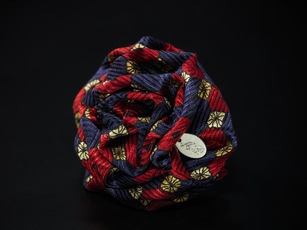 MyB Silk Flower Square Print Jacquard Navy/Red
