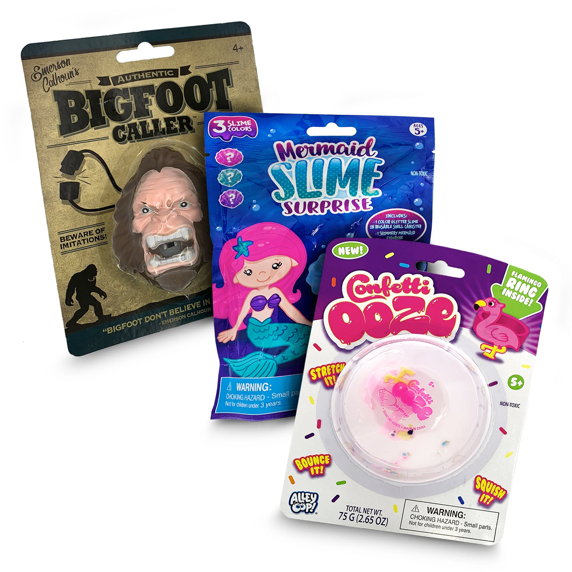 3 Pack Christmas Toys Stocking Stuffer with Bigfoot Caller, Flamingo Confetti Ooze, and Collectible Shimmering Magical Mermaid Slime Surprise