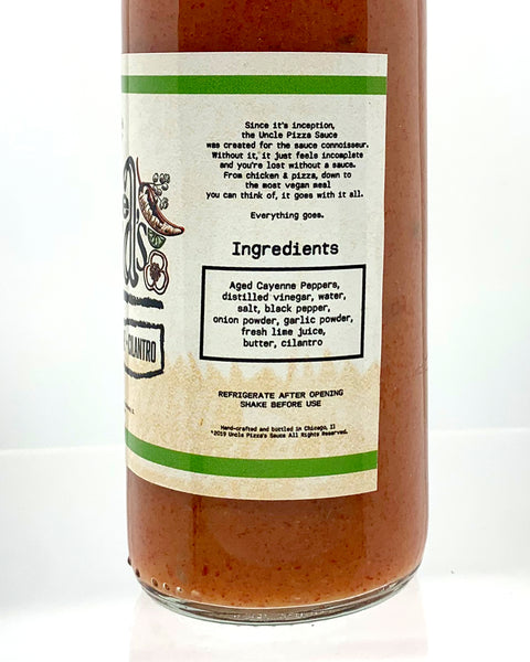 Buffalo Lime Cilantro Red Hot Sauce Handcrafted by Uncle Pizza
