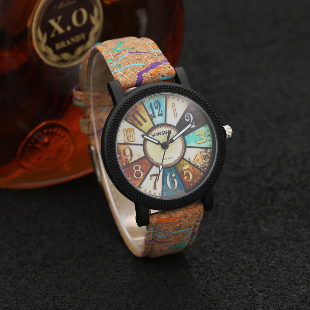 wood sports Wristwatch Fashion Casual Leather