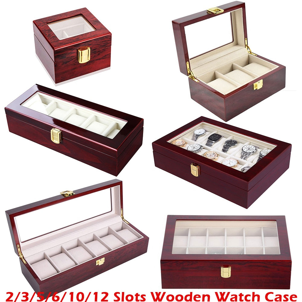 Luxury Wooden Watch Box . Glass Top Jewelry Organizer - Watch Couture