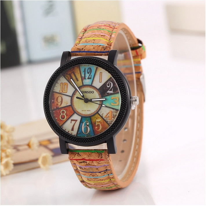 New flower surface wood grain leather watch - Watch Couture