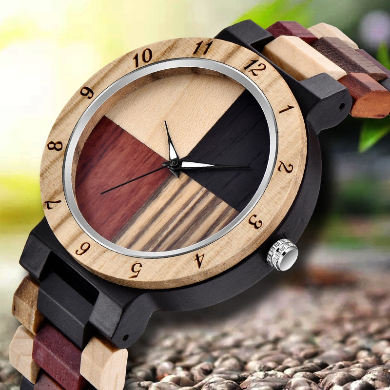 Creative Full Natural Wood Male Watches Handmade Bamboo Bangle Quartz Wrist Watch - Watch Couture