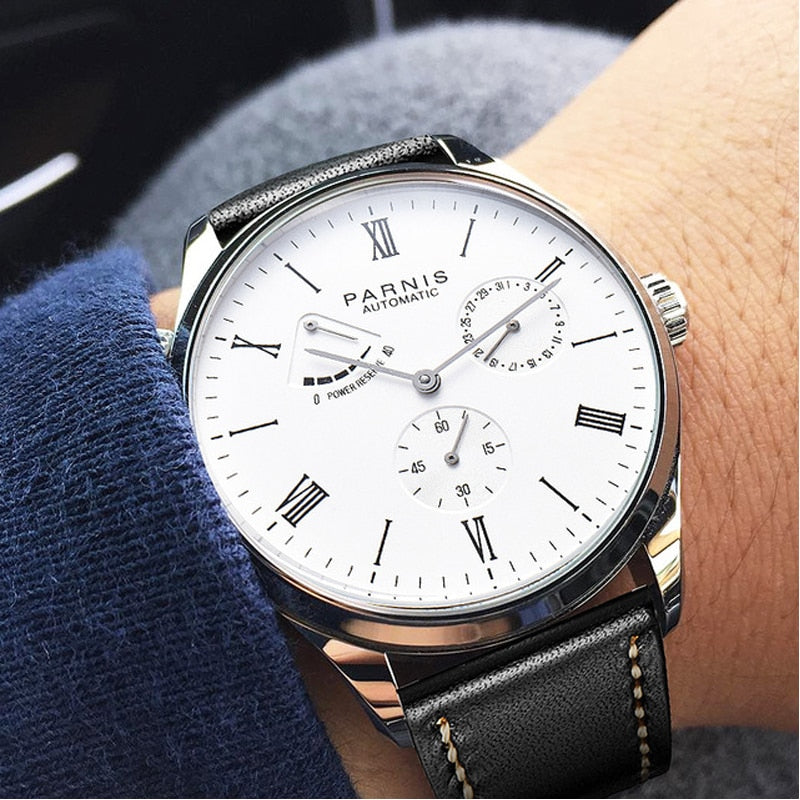 2019 Luxury Man Parnis Power Reserve Automatic Watch