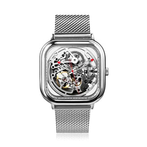 CIGA Design Hollow-out Automatic Mechanical Watch Stainless Steel Net Band - Watch Couture