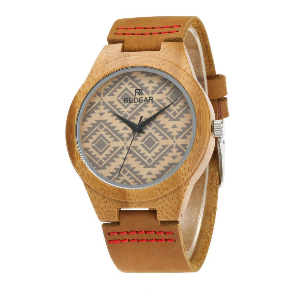 Watch. Wave Pattern ,Leather Strap Watch ,Bamboo - Watch Couture
