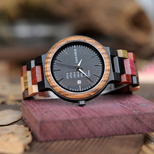 BOBO BIRD Wood Watch  Quartz Week Date Timepiece Colorful Wooden Band