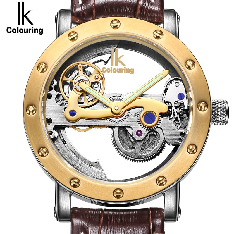Luxury Rose Gold Case Genuine Leather Skeleton Watch - Watch Couture