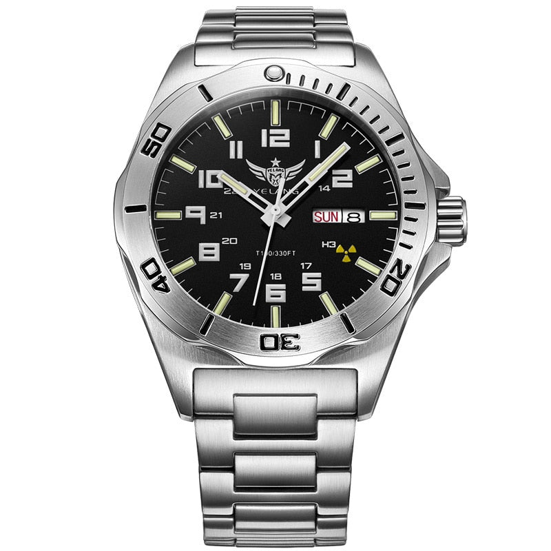 YELANG V1019 mens steel waterproof 100m business wrist watch - Watch Couture