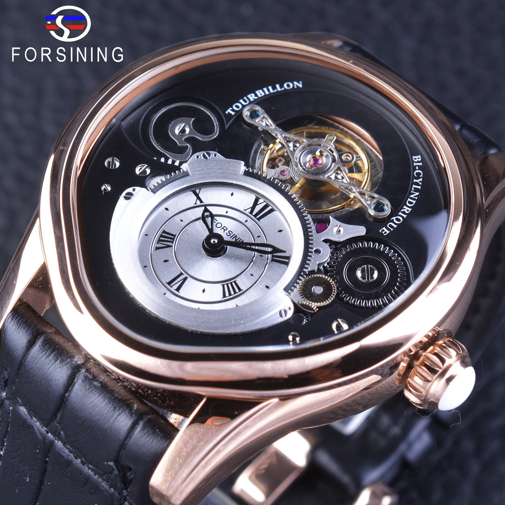 Forsining Rose Gold Tourbillion Designs - Watch Couture