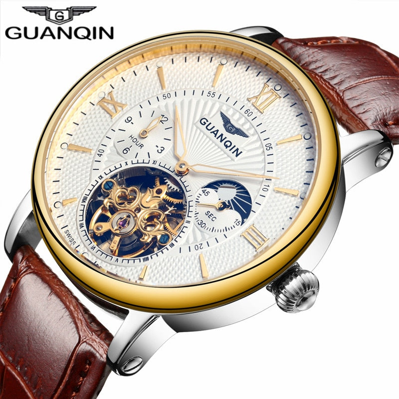 Luxury Skeleton Sport Leather Tourbillon Automatic Mechanical Wristwatch