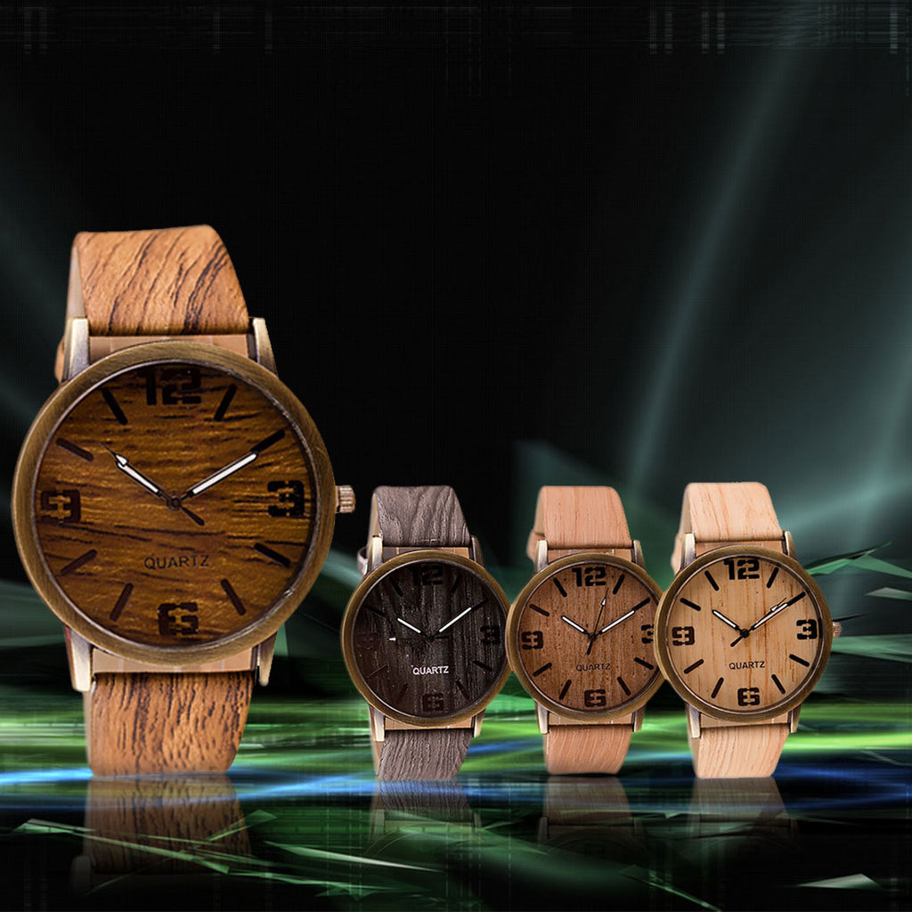 Casual Wooden Color Leather Strap Watch