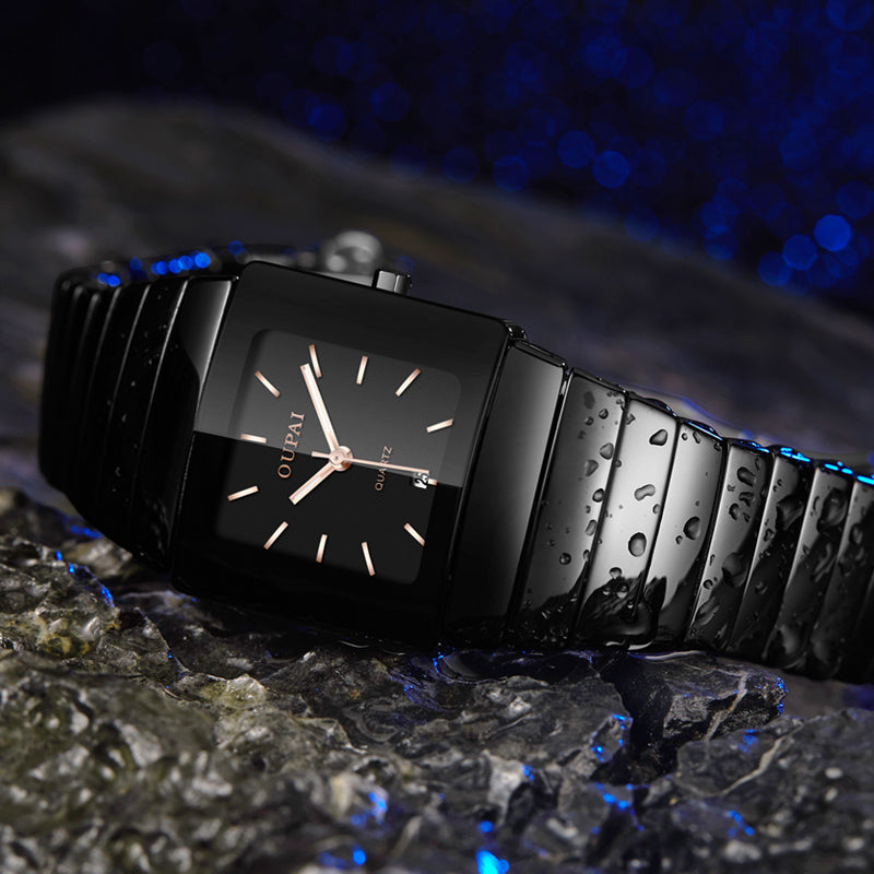 OUPAI Black Ceracmic Rectangle Watch with Calendar Business Tonneau Luminous Hands  Water Resistant