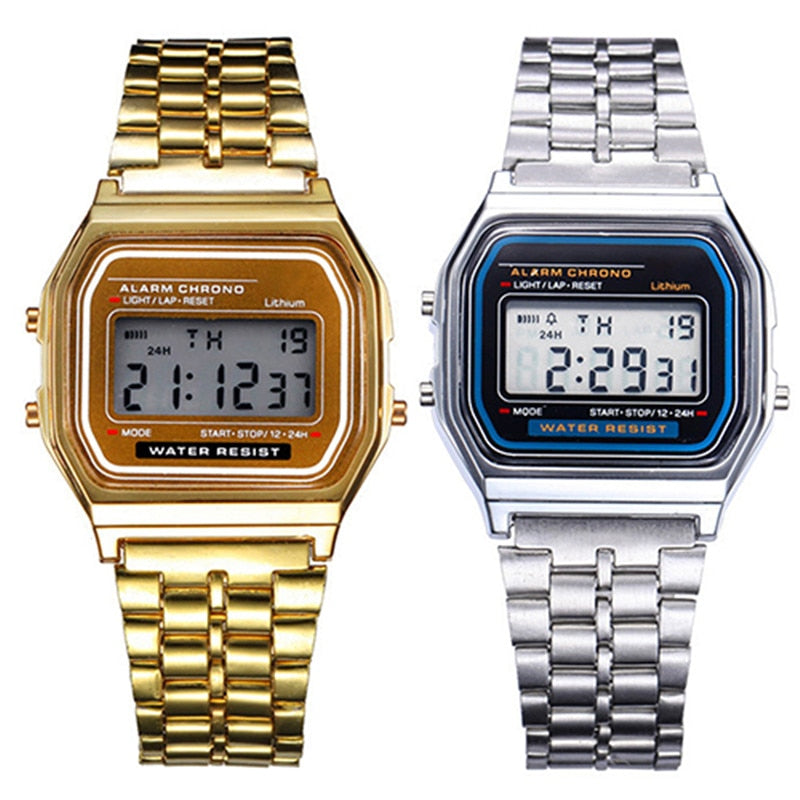 Unisex Watch, Gold Silver Vintage Stainless Steel - Watch Couture