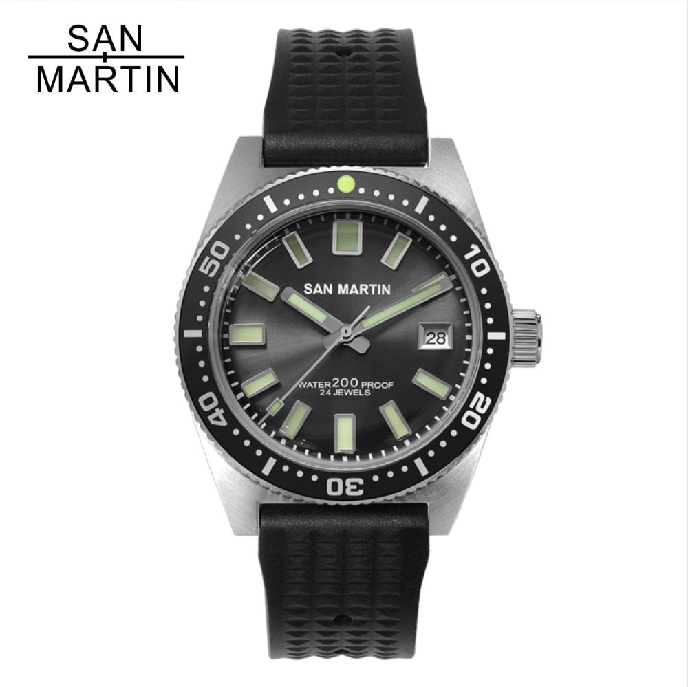 San Martin 62MAS Men Automatic Stainless Steel diving Watch - Watch Couture