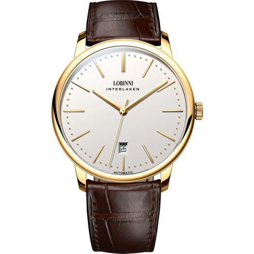 LOBINNI Men Business Waterproof Fashion Wrist Watch - Leather Band - Watch Couture