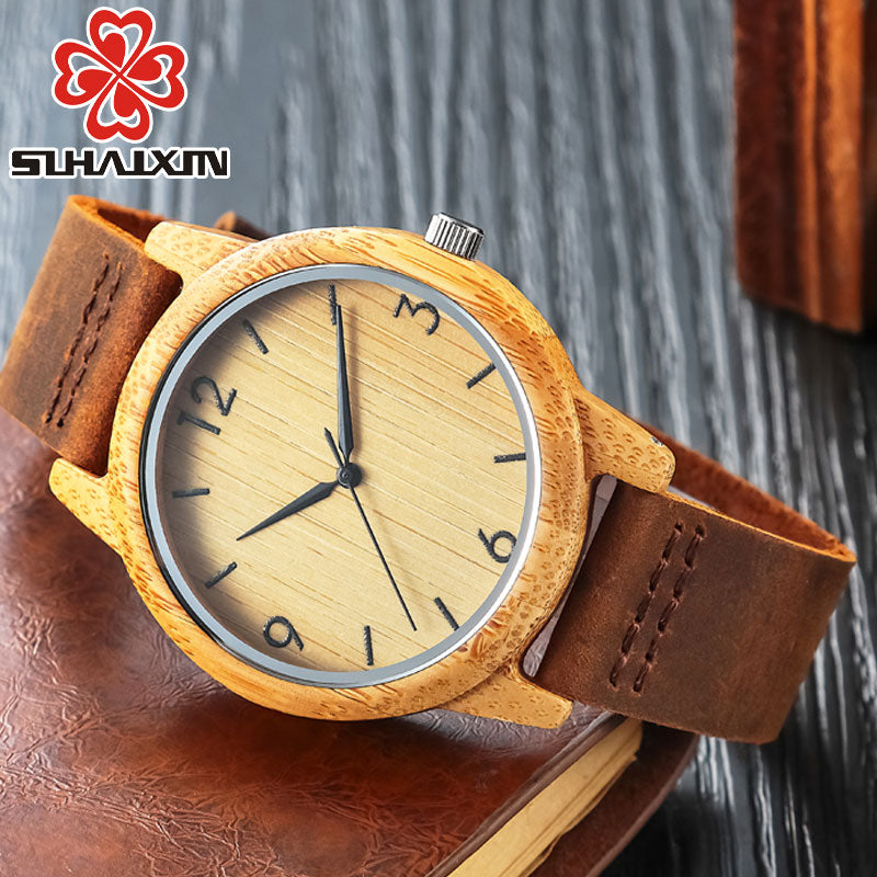 SIHAIXIN Bamboo Wooden Watch Leather Strap - Watch Couture