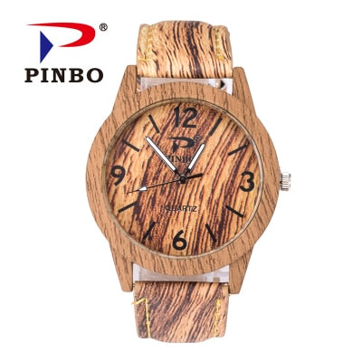 Wood Retro Watch Vintage Leather Quartz