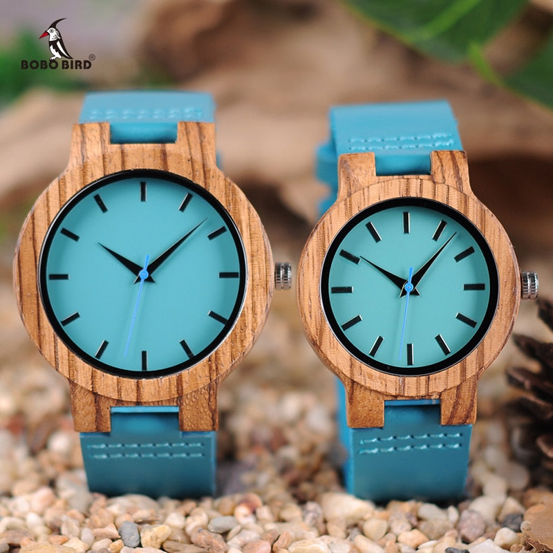 BOBO BIRD Zebra Wooden Timepieces... Turquoise Blue - Watch Couture