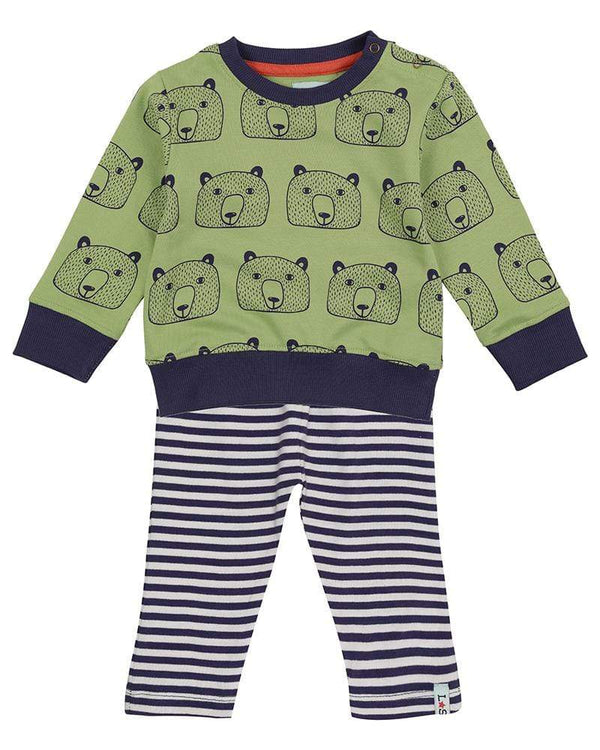 Lilly & Sid 2 Piece Sets Bear Head Sweatshirt/Leggings Set organic childrens clothes