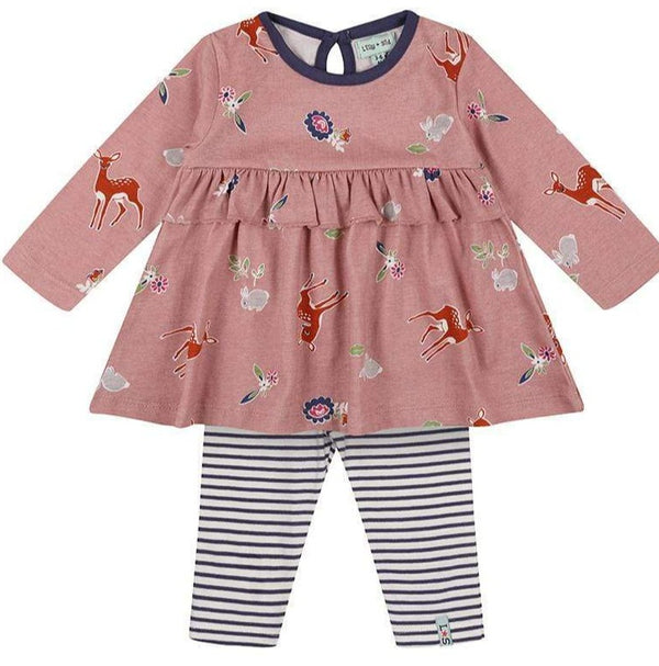Lilly & Sid 2 Piece Sets Little Deer Dress / Leggings Set organic childrens clothes
